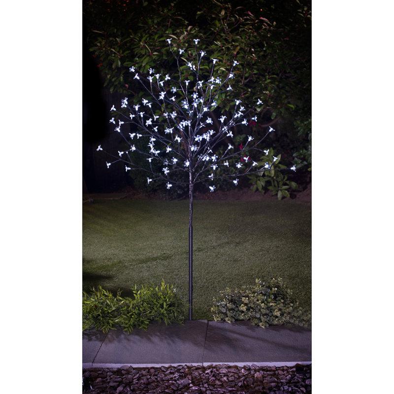 solar powered led solar blossom tree 4ft static flashing garden