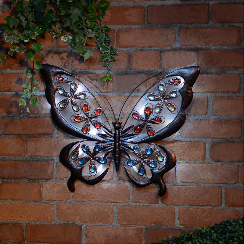 B m solar butterfly wall art 307000 b m for Outdoor butterfly ornaments