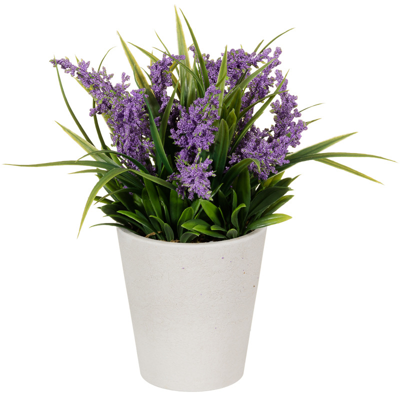 Round pot with lavender garden decorations artificial - Growing lavender pot ...