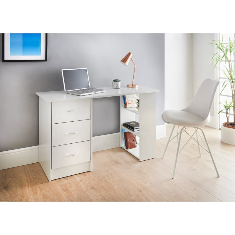 Lokken 3 Drawer Desk & Shelves