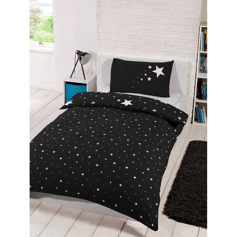 Glow In The Dark Single Duvet Set Black Bedding