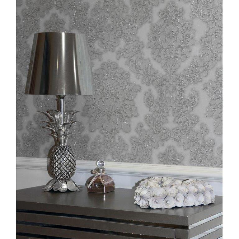 B&M Arthouse Vicenza Grey Damask Wallpaper - 312236 | B&M