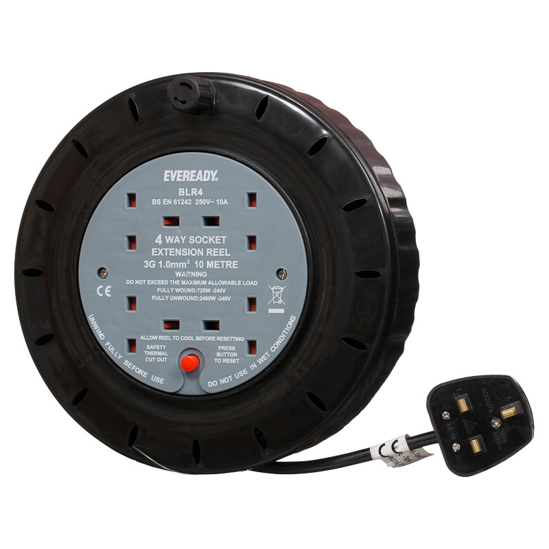 Eveready 4 Socket Extension Reel 10m | Electrical Accessories