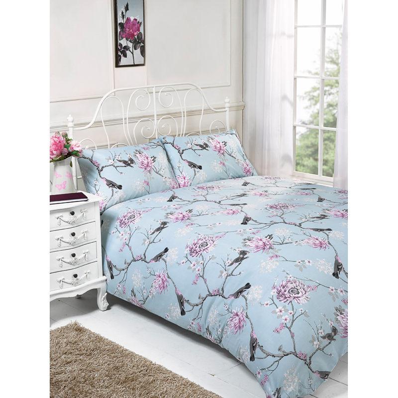 floral birds king size duvet set bedding duvet covers. Black Bedroom Furniture Sets. Home Design Ideas