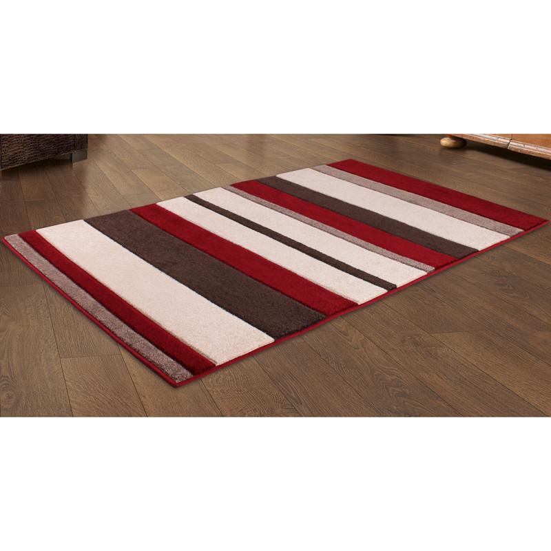 b m carved red stripe rug 150 x 210cm 300801. Black Bedroom Furniture Sets. Home Design Ideas