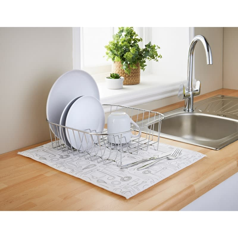 Addis Microfibre Printed Dish Drying Mat - White Utensils