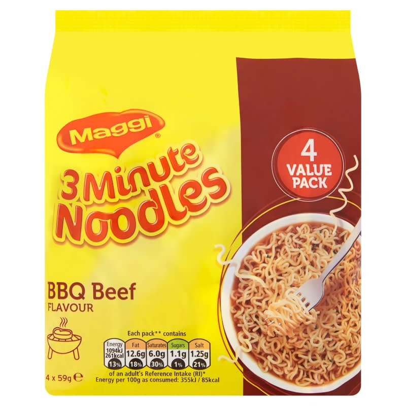 Maggi 3 Minute Noodles BBQ Beef Flavour 4 x 59g