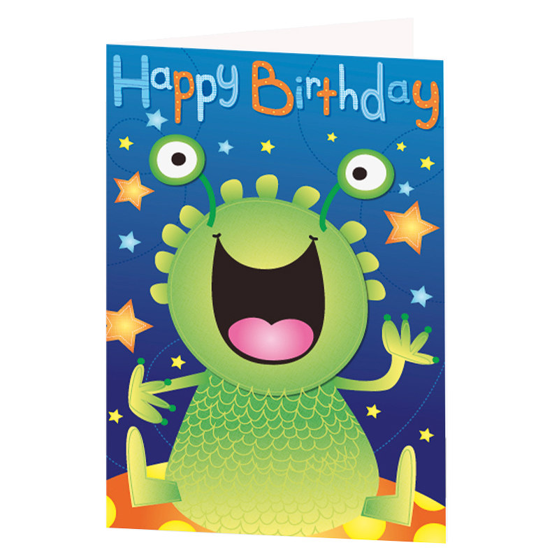 Green Monster Birthday Card