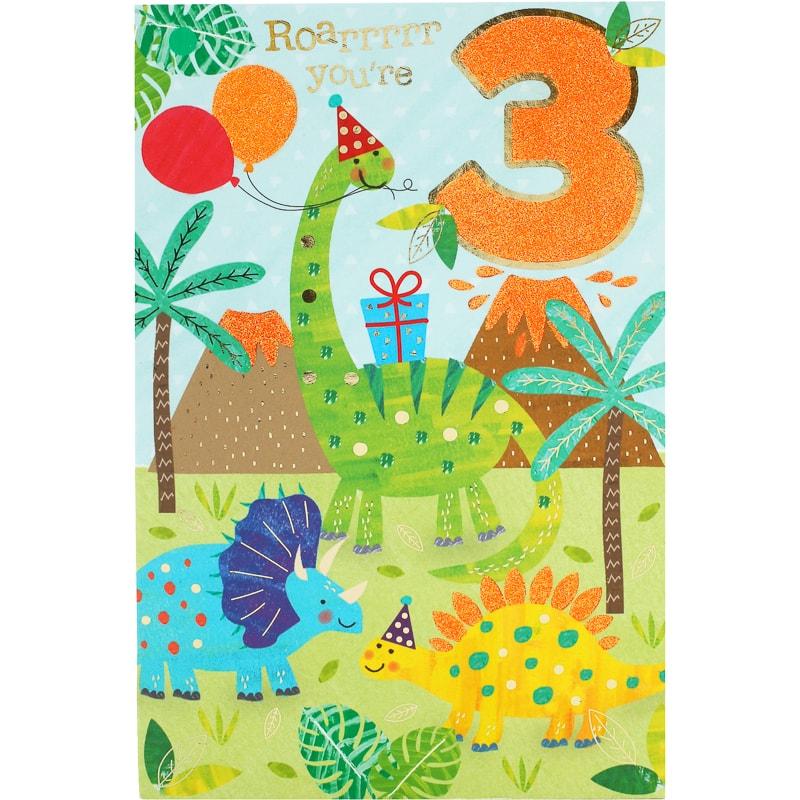 Roarrr Youre 3 Birthday Card Cards Bm