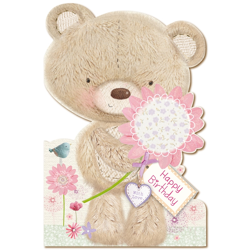 301168 Daughter Birthday Millie Bear Pink Flower