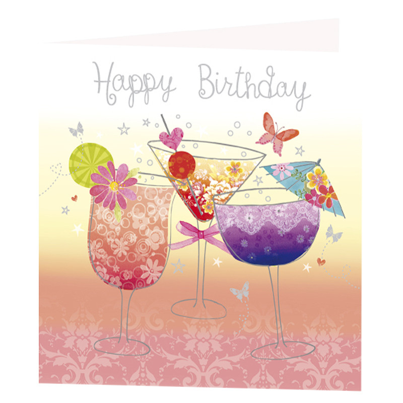 cocktail glasses birthday card   greeting cards