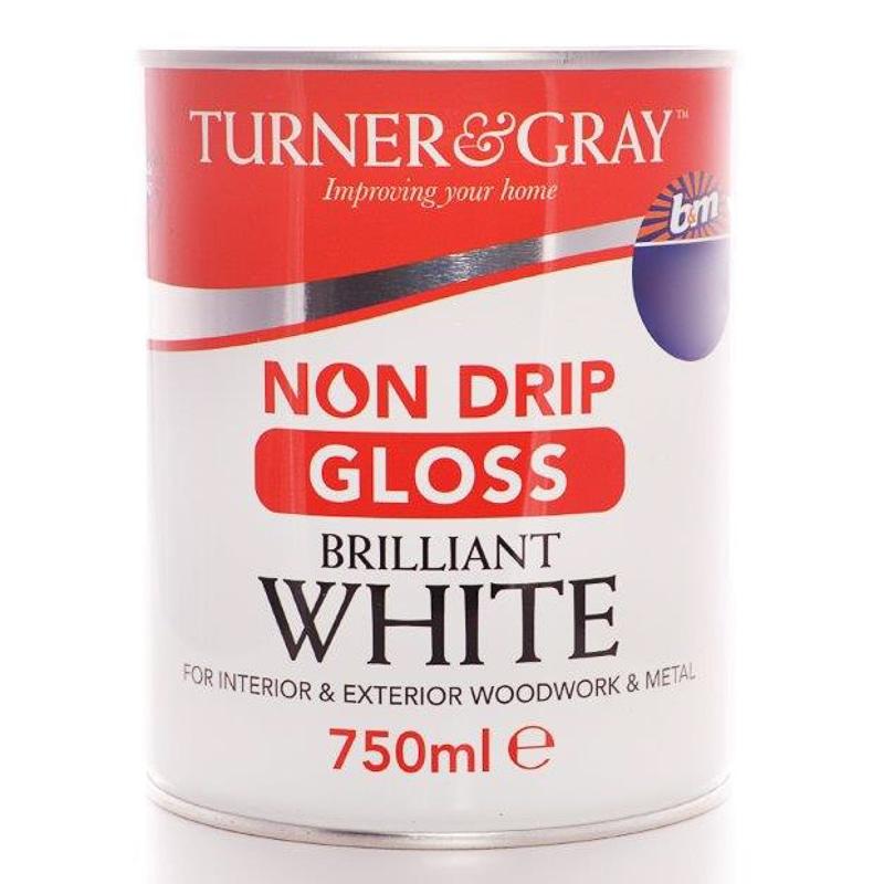 Turner Amp Gray Non Drip Gloss Brilliant White 750ml Paint