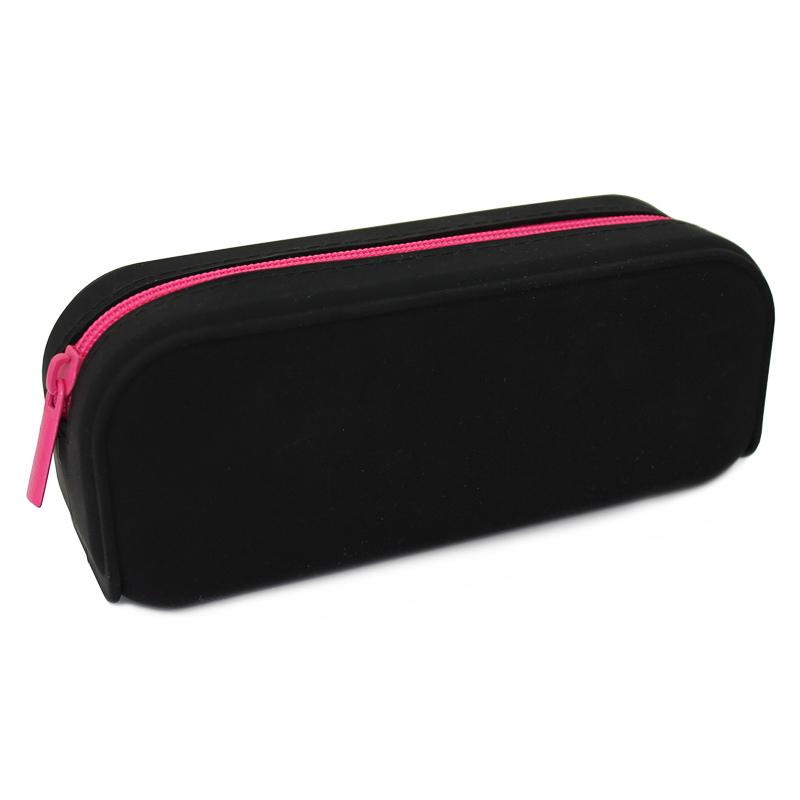 301395 Black Silicone with Pink Zip Pencil Case Edit1