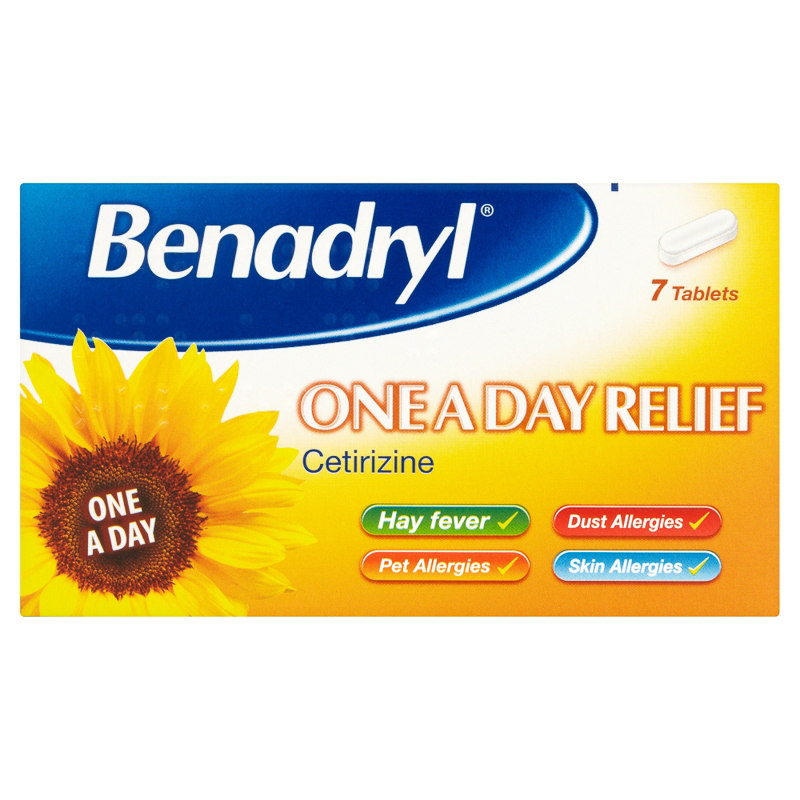 benadryl one a day allergy hayfever tablets 7pk. Black Bedroom Furniture Sets. Home Design Ideas