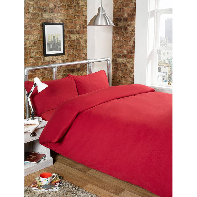 301742 Jersey Duvet Set Red