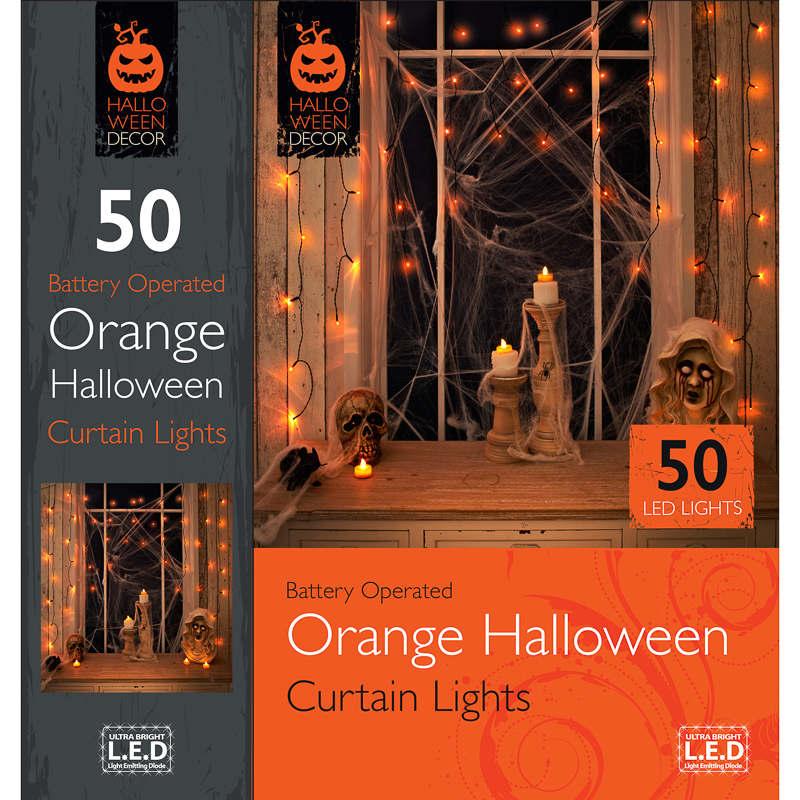 B Amp M 50 Orange Curtain Lights Halloween Decorations