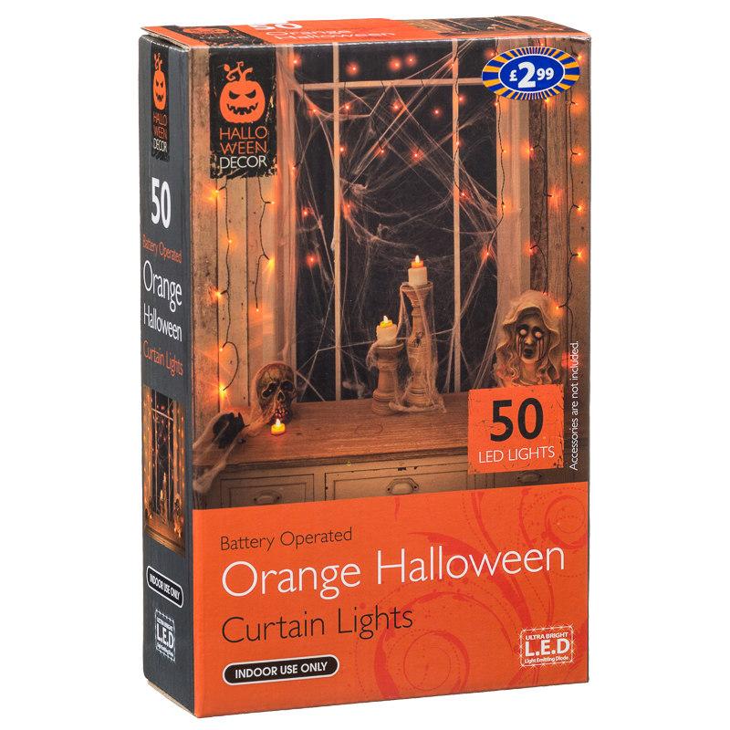 B m 50 orange curtain lights halloween decorations for B m halloween decorations