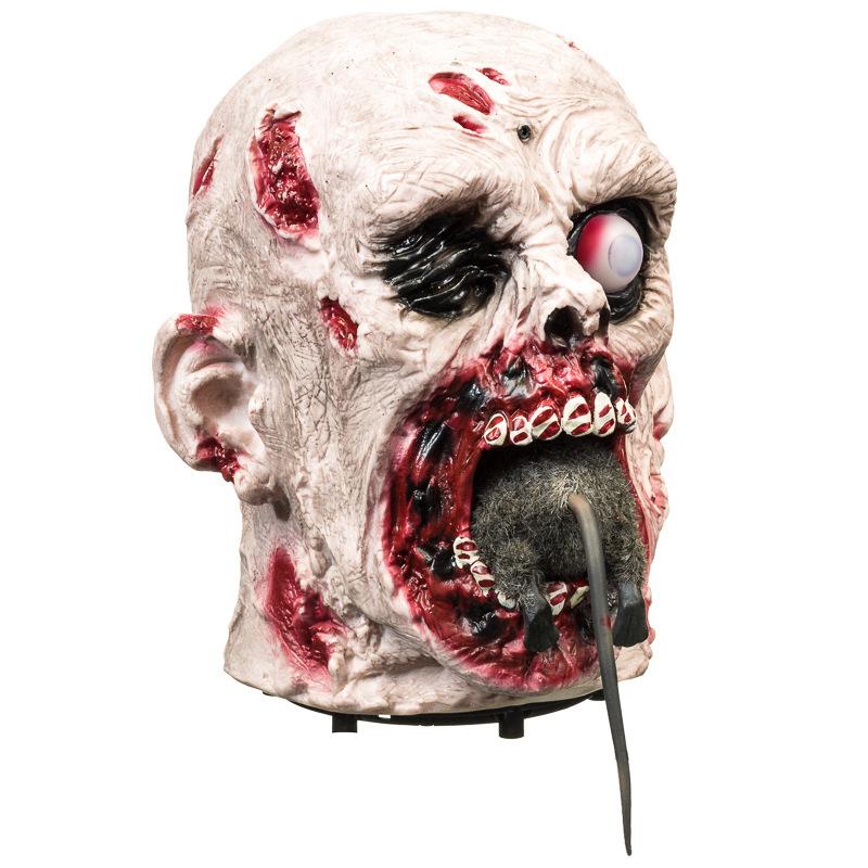 Animated zombie head eating rat halloween decoration b m for B m halloween decorations