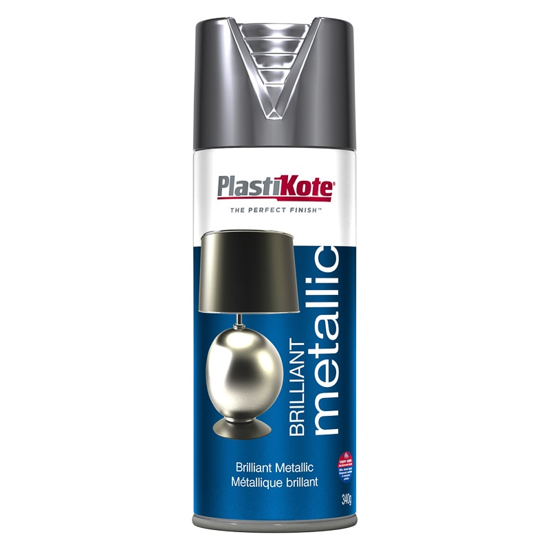 Plastikote Spray Paint - Brilliant Metallic Silver 400ml