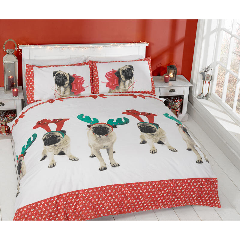 Christmas Double Duvet Set Pugs Kisses Bedding B M