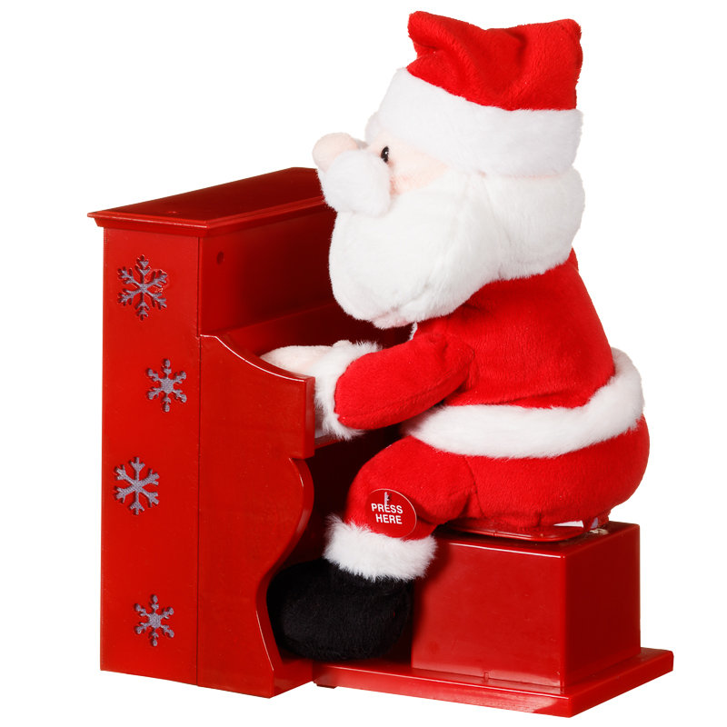 Piano playing santa claus christmas decorations b m for B m christmas decorations