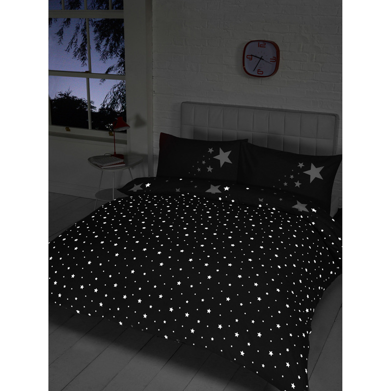 Glow In The Dark Double Duvet Set Black Bedding