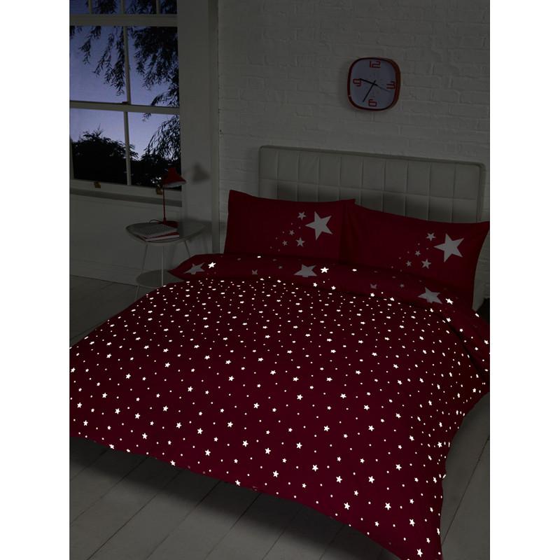 Glow in the Dark Double Duvet Set - Pink | Bedding | Duvet ...