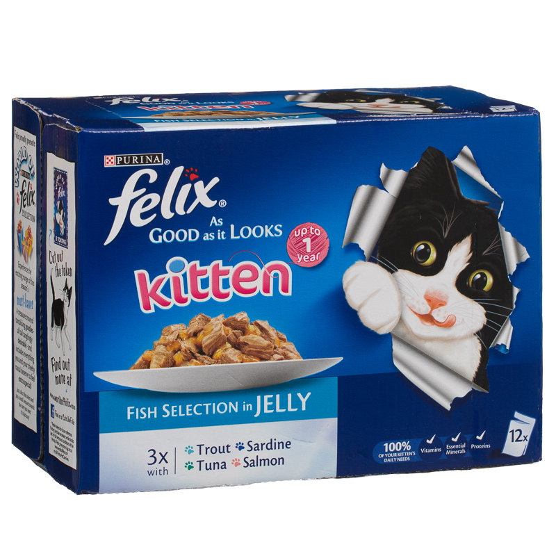 Felix As Good As It Looks Fish Selection in Jelly - For Kittens 12 x 100g