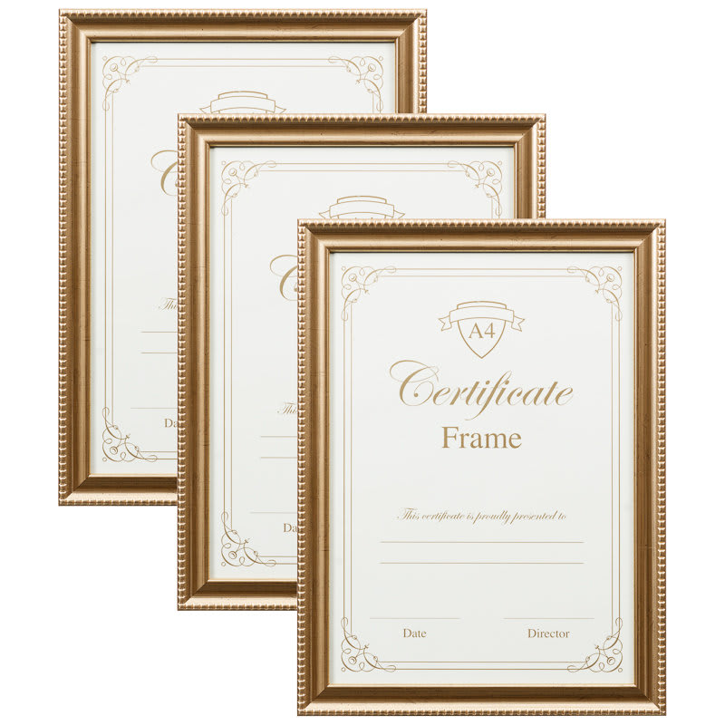 a4 certificate frame 3pk gold photo frames frames. Black Bedroom Furniture Sets. Home Design Ideas