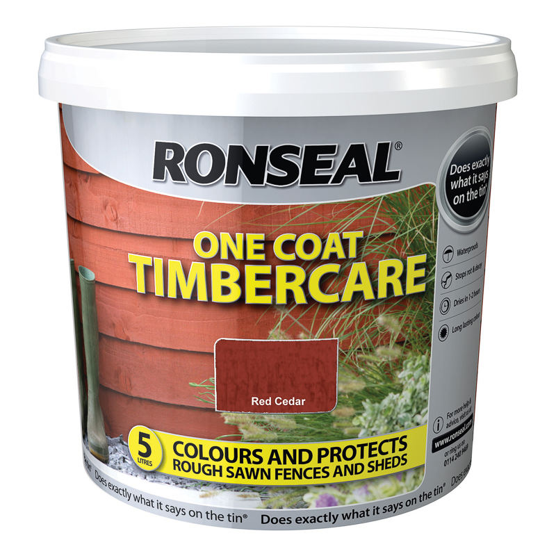 ronseal one coat timbercare red cedar 5l exterior paint. Black Bedroom Furniture Sets. Home Design Ideas
