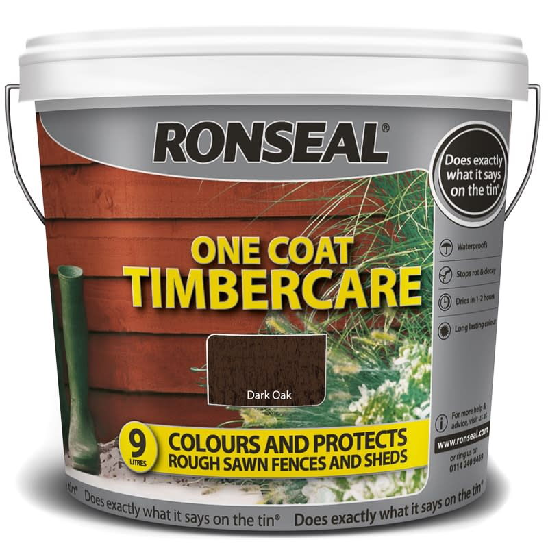 ronseal one coat timbercare dark oak 9l exterior paint. Black Bedroom Furniture Sets. Home Design Ideas