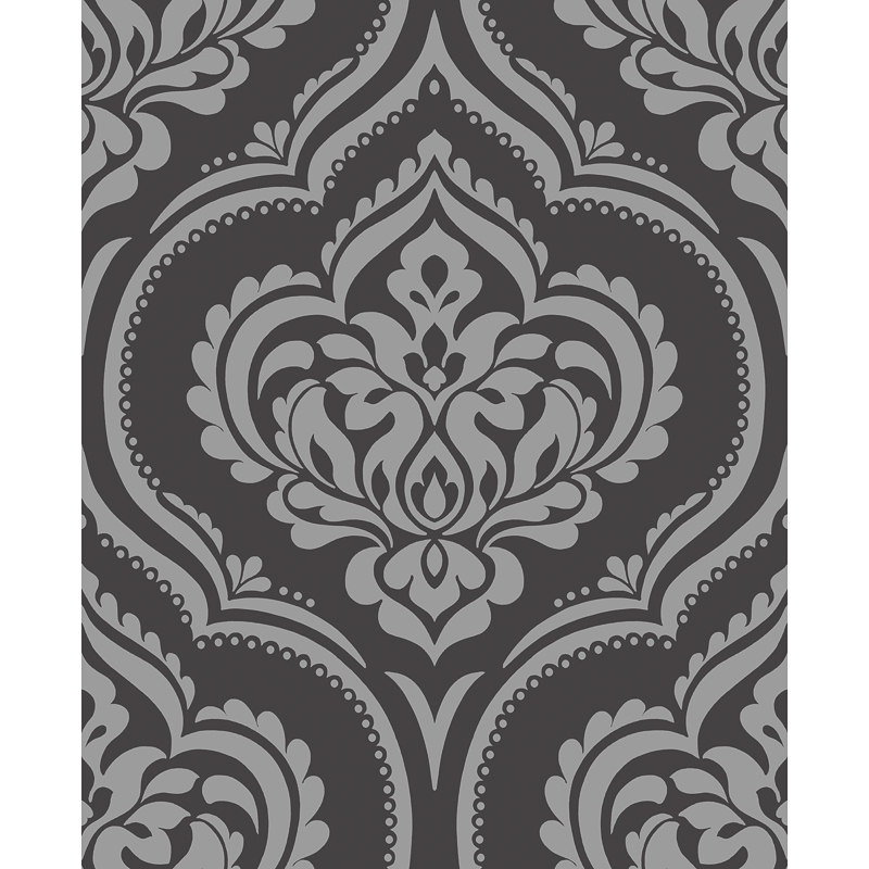 b m fine decor sparkle glitz damask wallpaper black