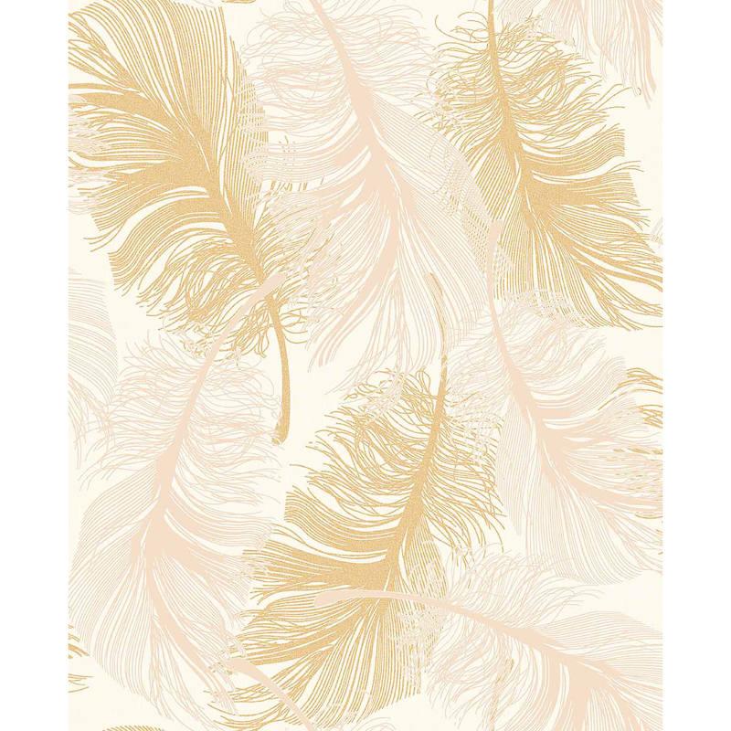 B&M: > Gold Feather Motif Wallpaper