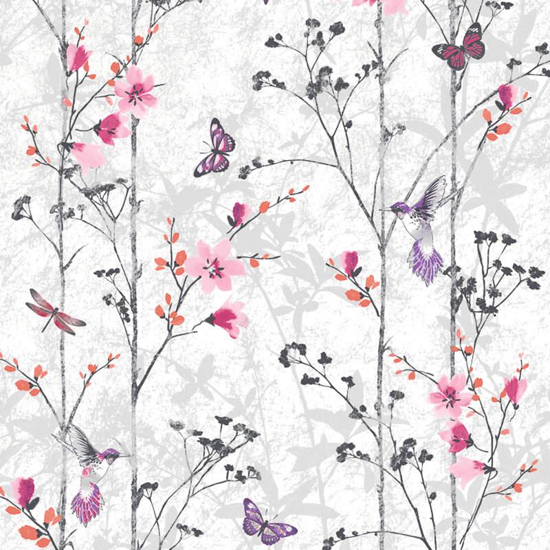 Muriva Eden Wallpaper - Pink - 312366