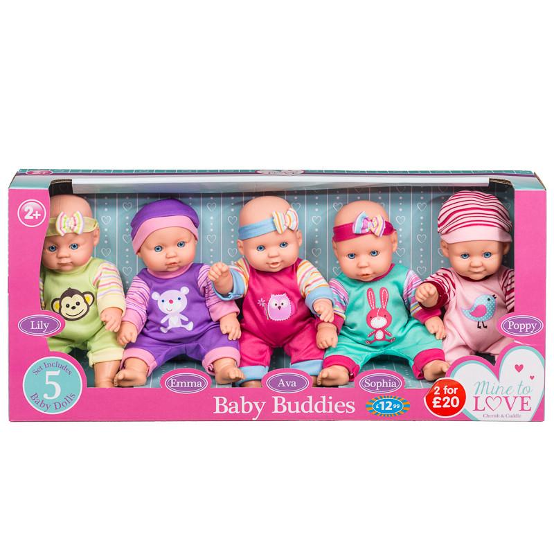Baby Buddies Baby Dolls 5pk Dolls Accessories