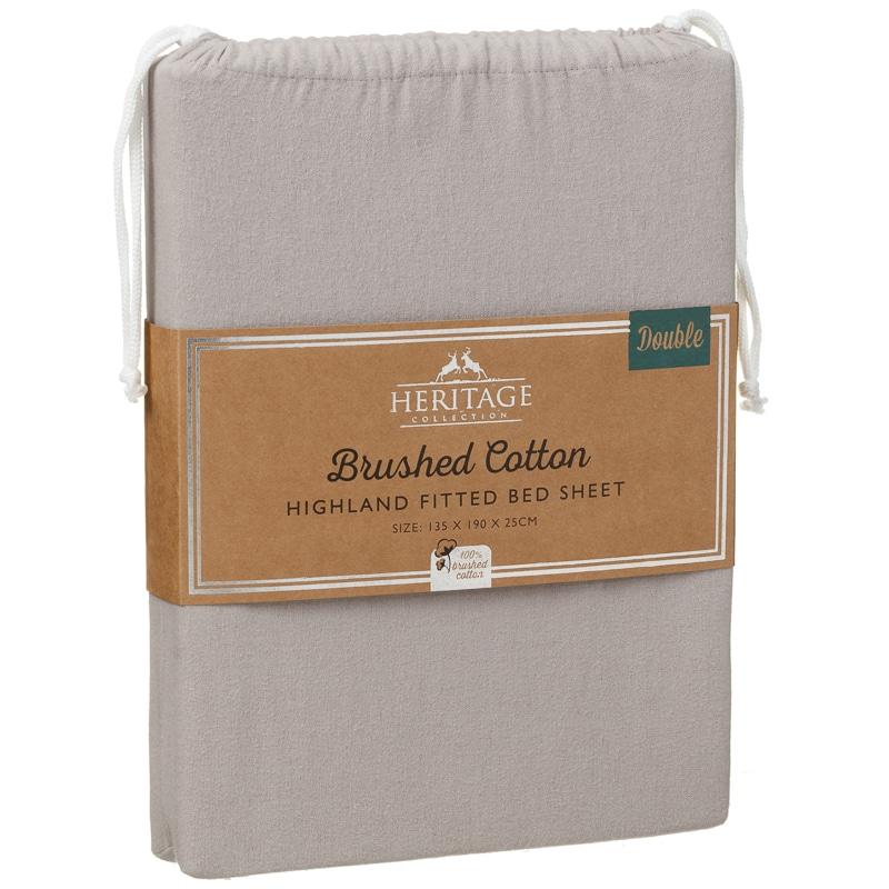 brushed cotton highland double sheet set grey bedding. Black Bedroom Furniture Sets. Home Design Ideas