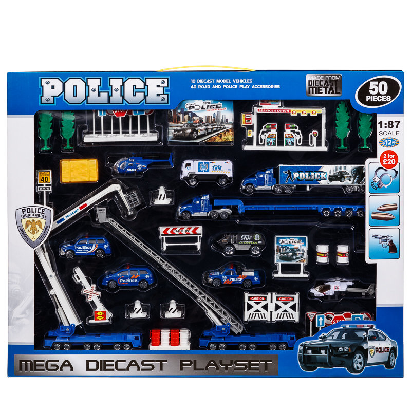 Large Diecast Police Set Toys Cheap Toys Play Sets