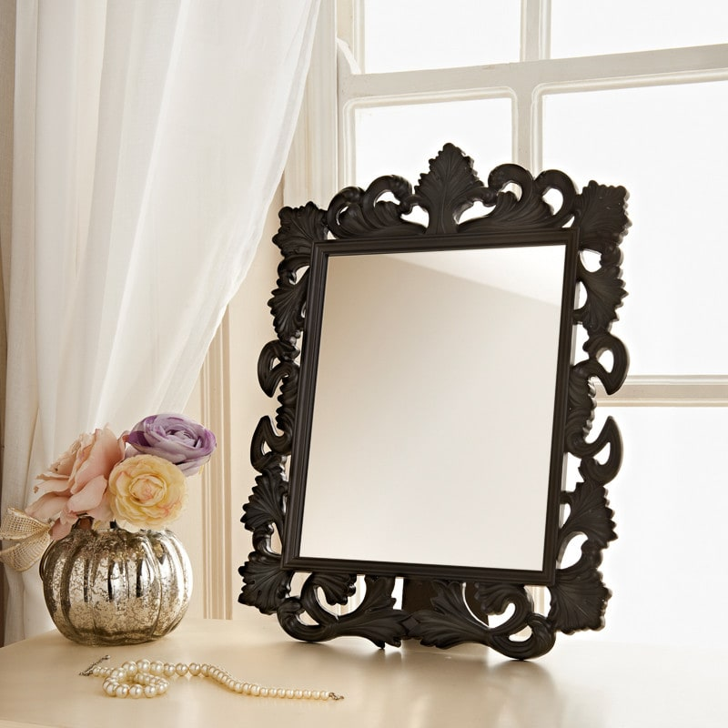 Ornate dressing table mirror ornate cheap mirrors for Black vanity desk with mirror