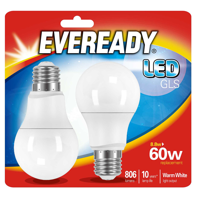 eveready led gls bulbs e27 60w 2pk diy bulbs lighting. Black Bedroom Furniture Sets. Home Design Ideas
