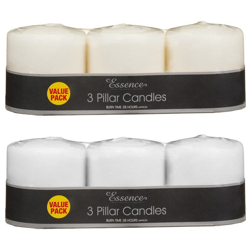 Essence Pillar Candles 3pk - White
