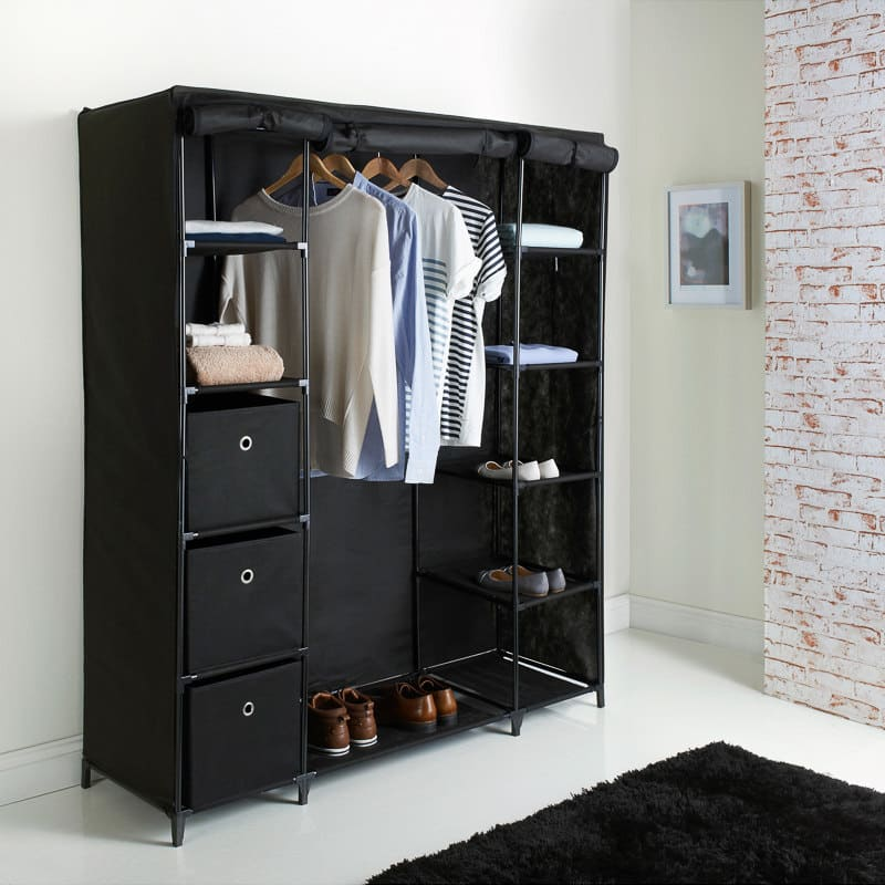 spaceways deluxe large canvas wardrobe bedroom furniture. Black Bedroom Furniture Sets. Home Design Ideas
