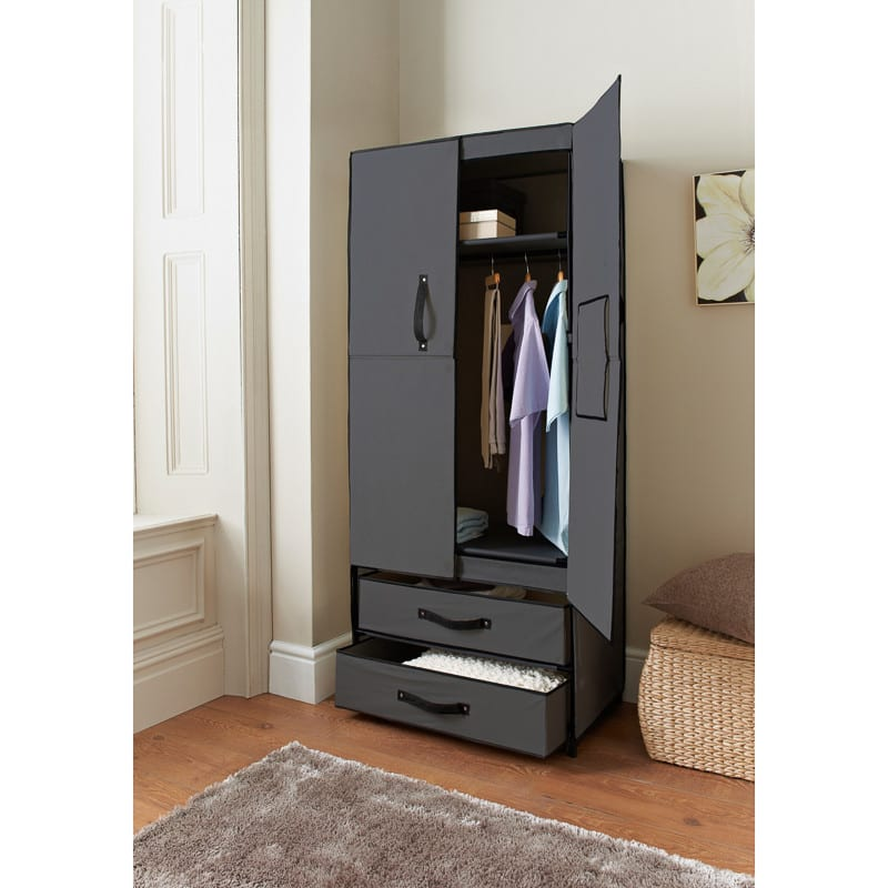 canvas wardrobe deluxe double canvas wardrobe bedroom. Black Bedroom Furniture Sets. Home Design Ideas