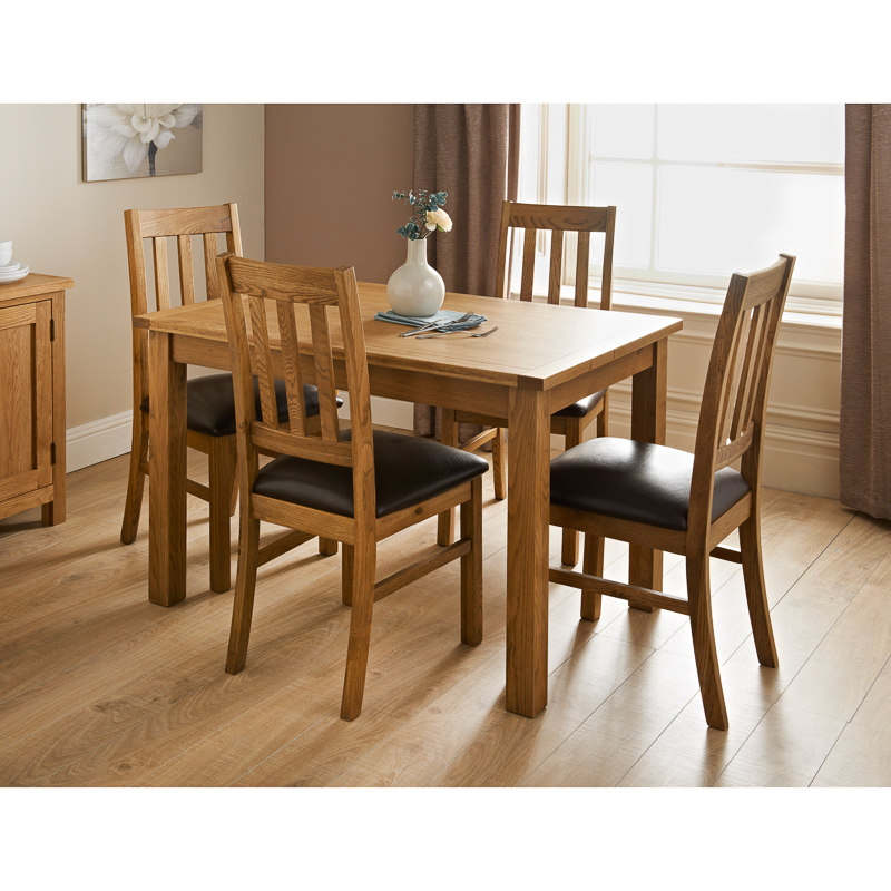 Hampshire oak dining set 7pc dining furniture b m for Oak dining chairs