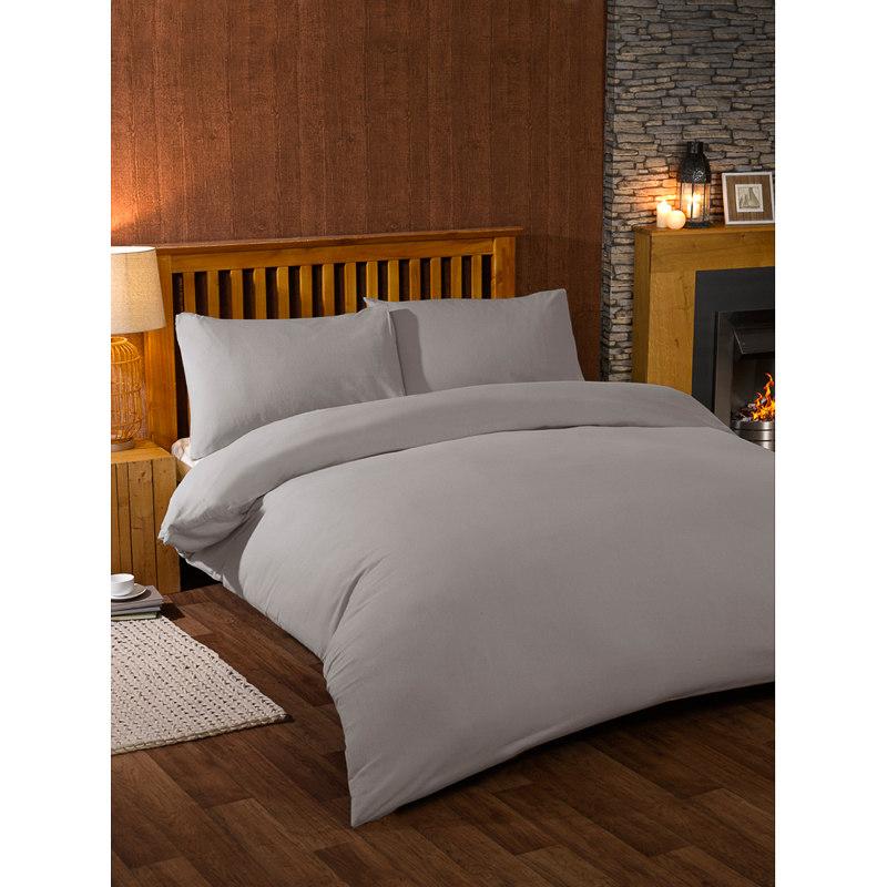 Brushed Cotton Duvet Set Double Grey Bedding Duvet