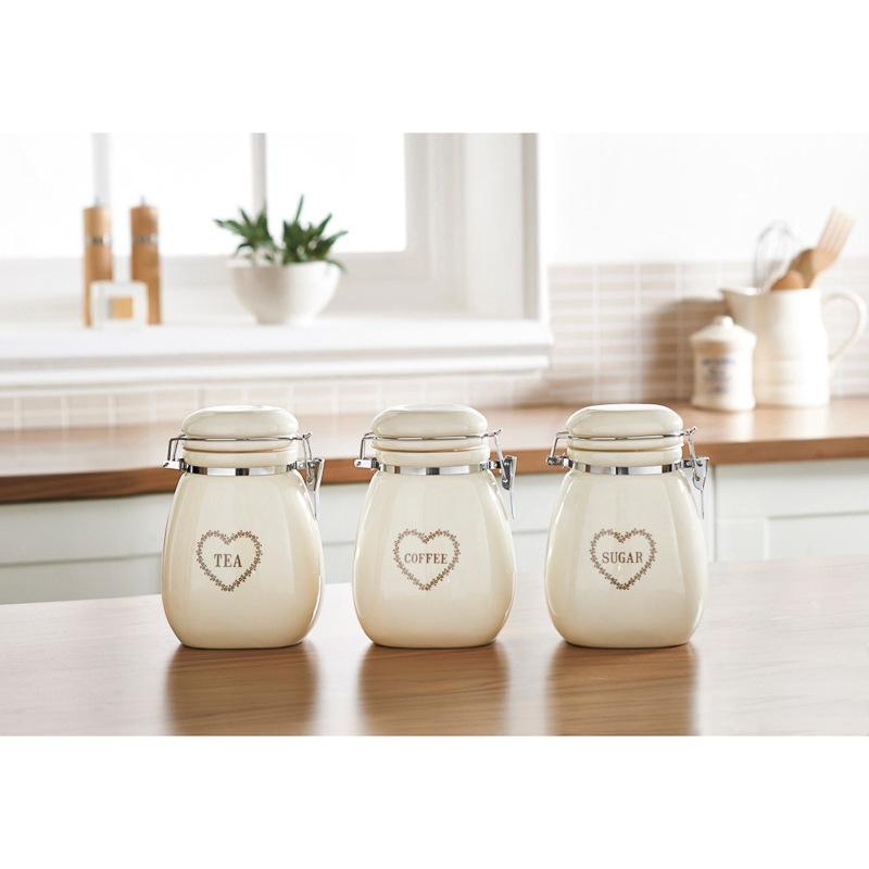 clip top floral hearts tea coffee sugar set kitchenware. Black Bedroom Furniture Sets. Home Design Ideas