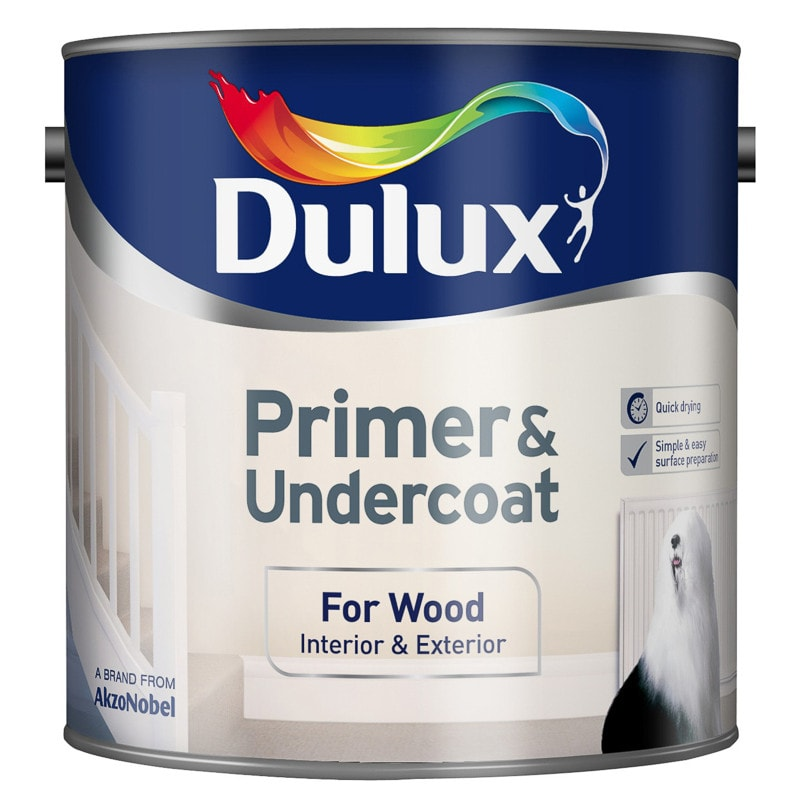 Dulux Primer & Undercoat Paint - For Wood 2.5L