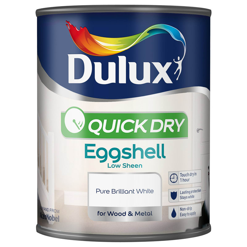 Dulux Quick Dry Eggshell Paint - Pure Brilliant White 750ml