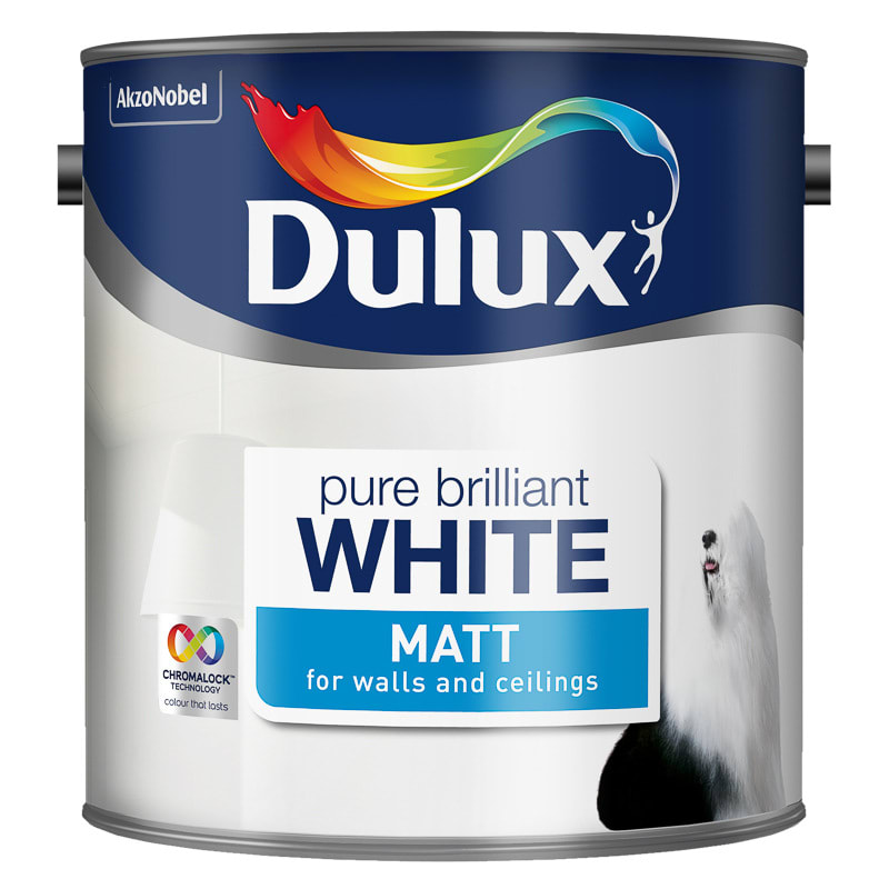 Dulux Matt Emulsion Pure Brilliant White 2.5L | Painting ...