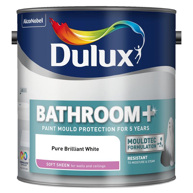White Bathroom Paint Dulux dulux bathroom+ soft sheen paint-pure brilliant white 2.5l | painting