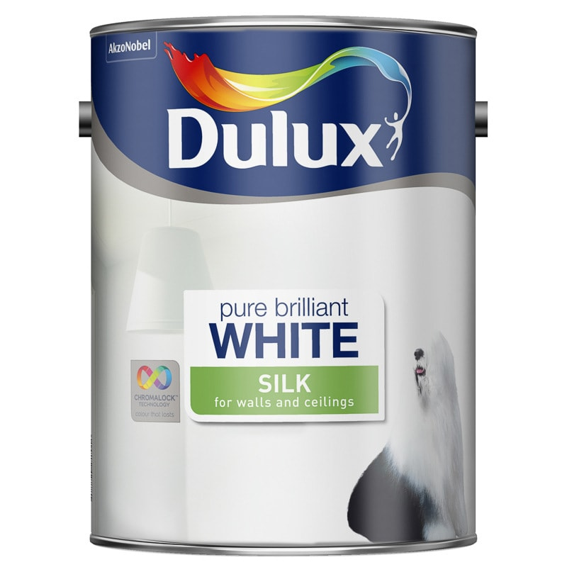 dulux pure brilliant white silk emulsion 5l painting. Black Bedroom Furniture Sets. Home Design Ideas